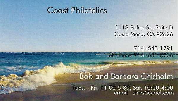 Coast Philatelics (Bob and Barbara Chisholm, no website)