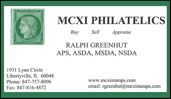 MCXI Philatelics - Buy, Sell, Appraise (Ralph Greenhut)