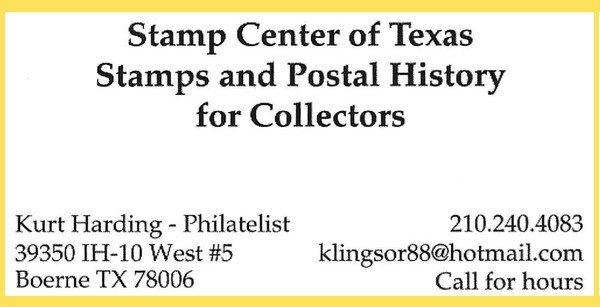 Stamp Center of Texas (Kurt Harding please call - no website available)