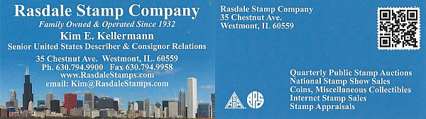 Rasdale Stamp Co. - Family Owned - Auctions, Internet Sales and Stamp Appraisals (Kim Kellerman)